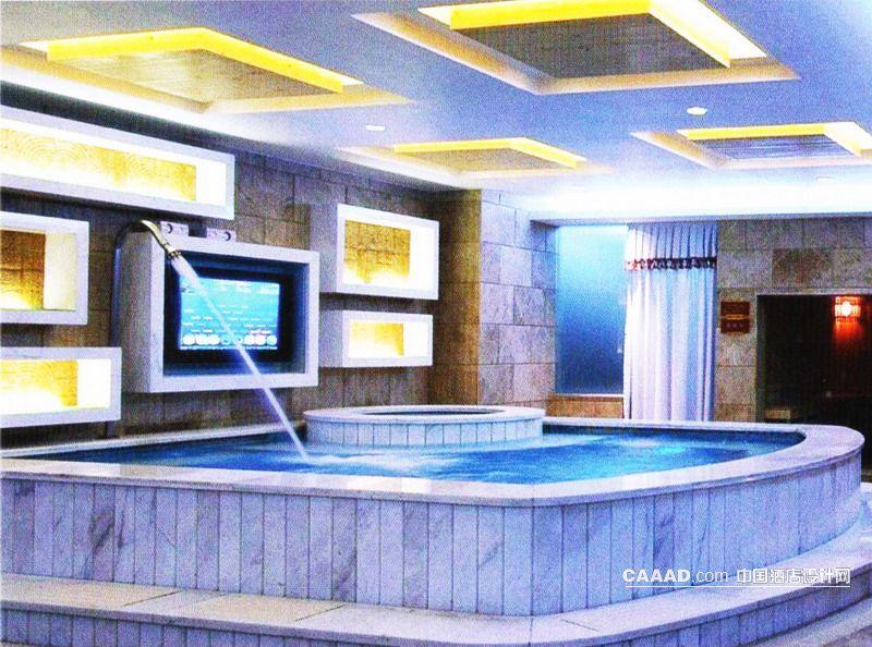 A水疗洗浴中心桑拿池洗浴池电视背景墙天花造型灯效果图 SPA水疗高清图片