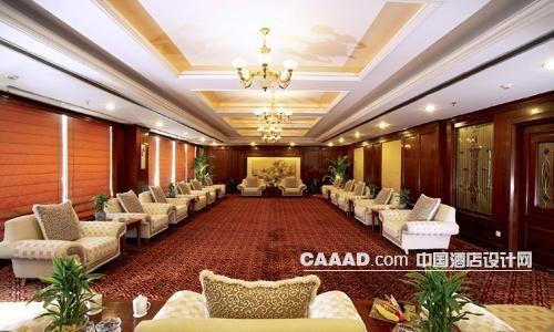 接见厅会议厅欧式吊灯壁灯沙发桌子地毯效果图