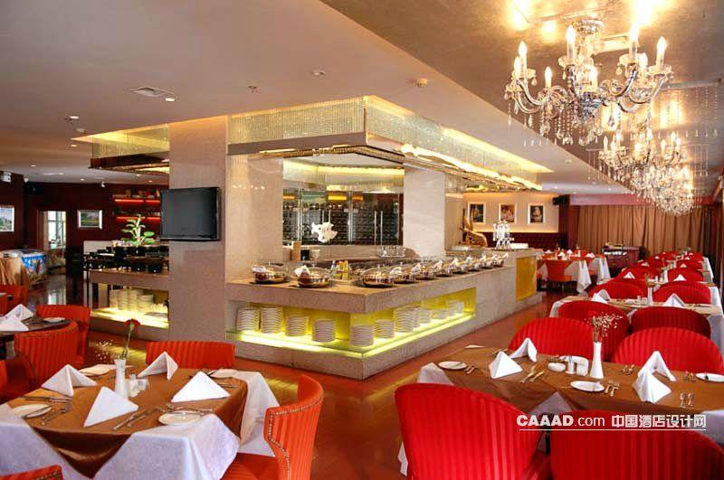 自助餐厅欧式水晶吊灯布菲台餐台插花餐桌椅子-中国