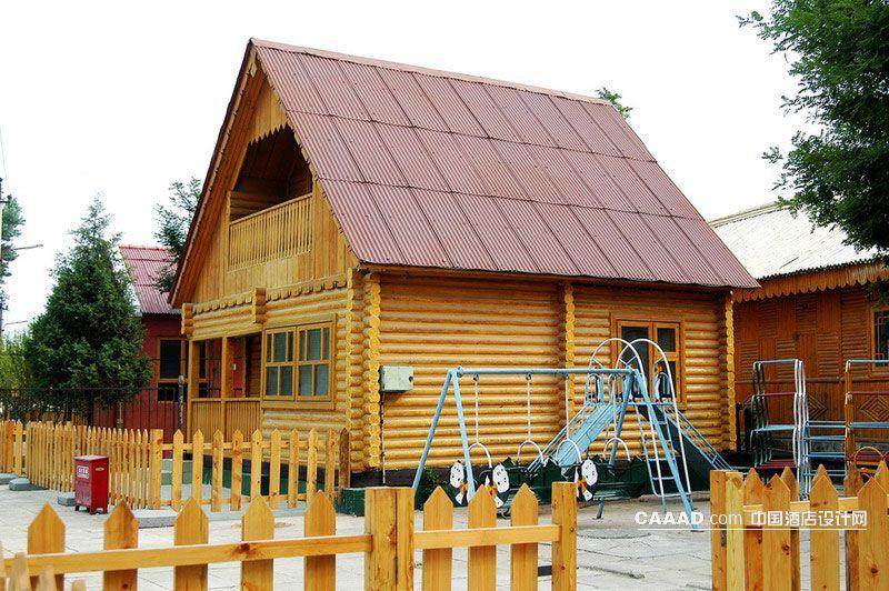 欧式建筑外观木制护栏效果图