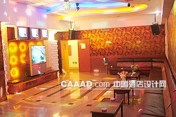 ktv包房背景墙沙发桌子灯带电视柜效果图