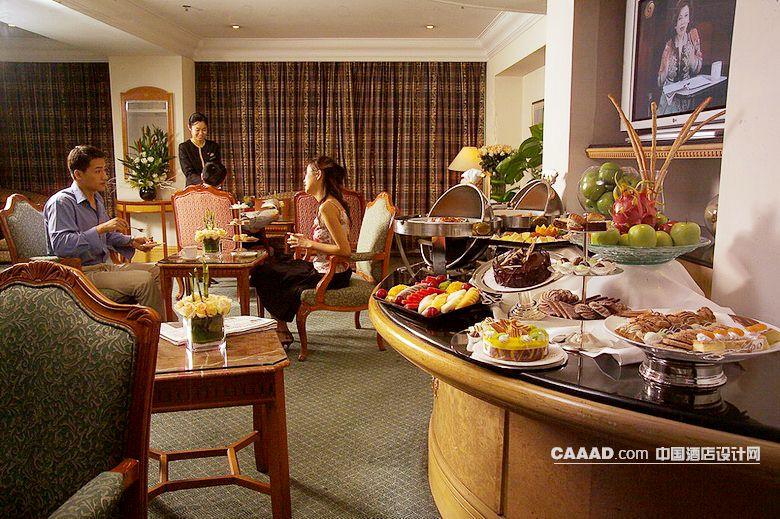 自助餐厅布菲台桌子欧式椅子窗帘-中国酒店设计网