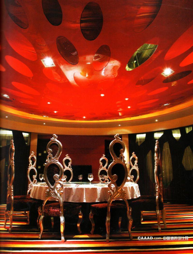 """餐厅造型天花板餐桌 上海长兴岛""""岭南汇 餐厅水晶吊灯餐桌餐 休息区"""