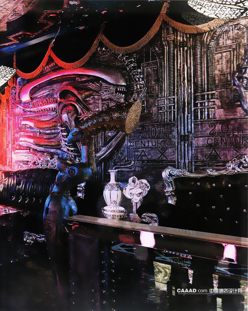 包房艺术背景墙欧式沙发雕塑隔断造型吊灯效果图