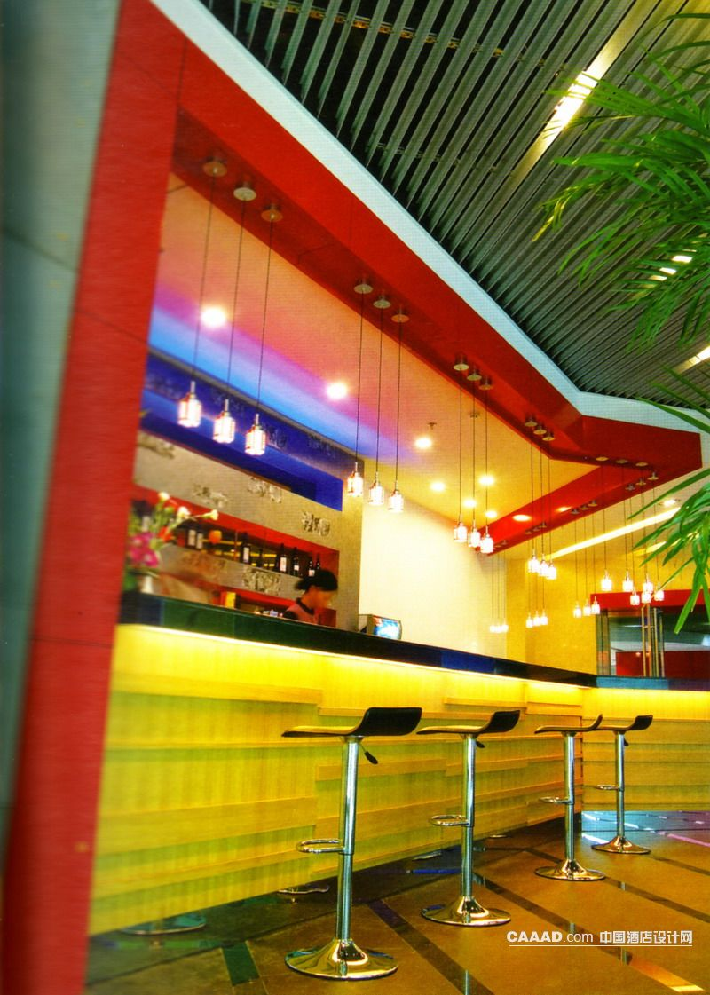 中国酒店设计网 装修效果图 >> 现代风格亚光黑板岩地面吧台吧椅吊灯