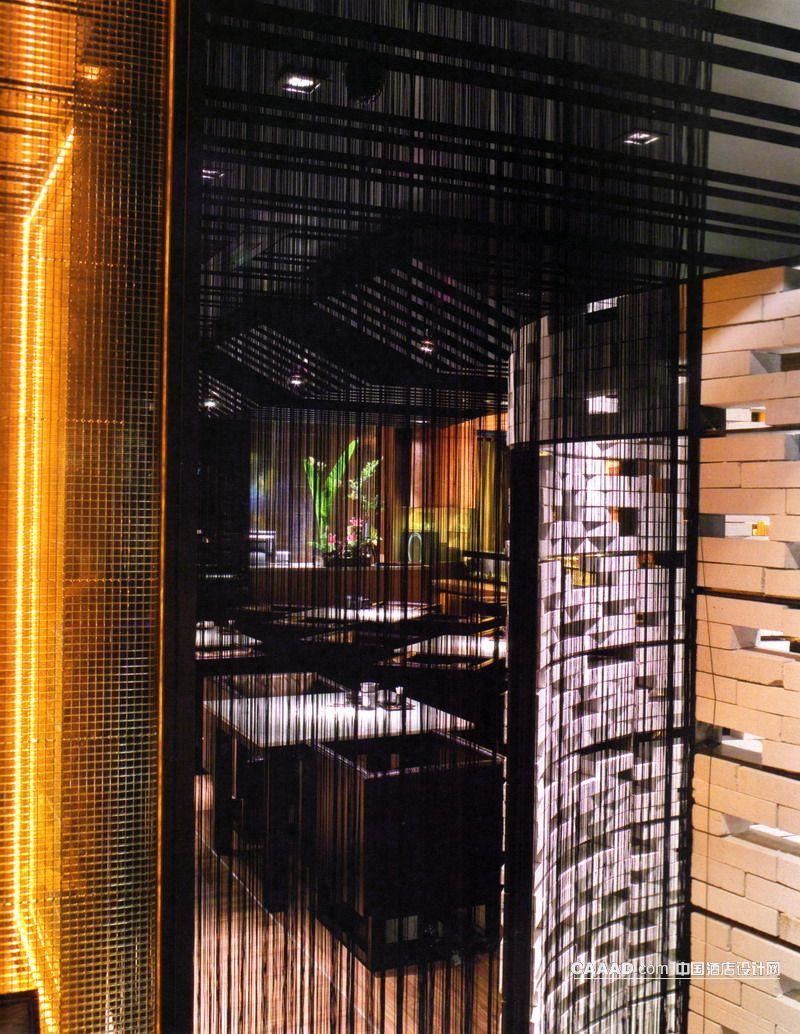 穿廊造型背景墙格栅板效果图