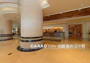 中国酒店设计网 装修效果图 >> 大堂大理石地面圆形柱子服务台装修