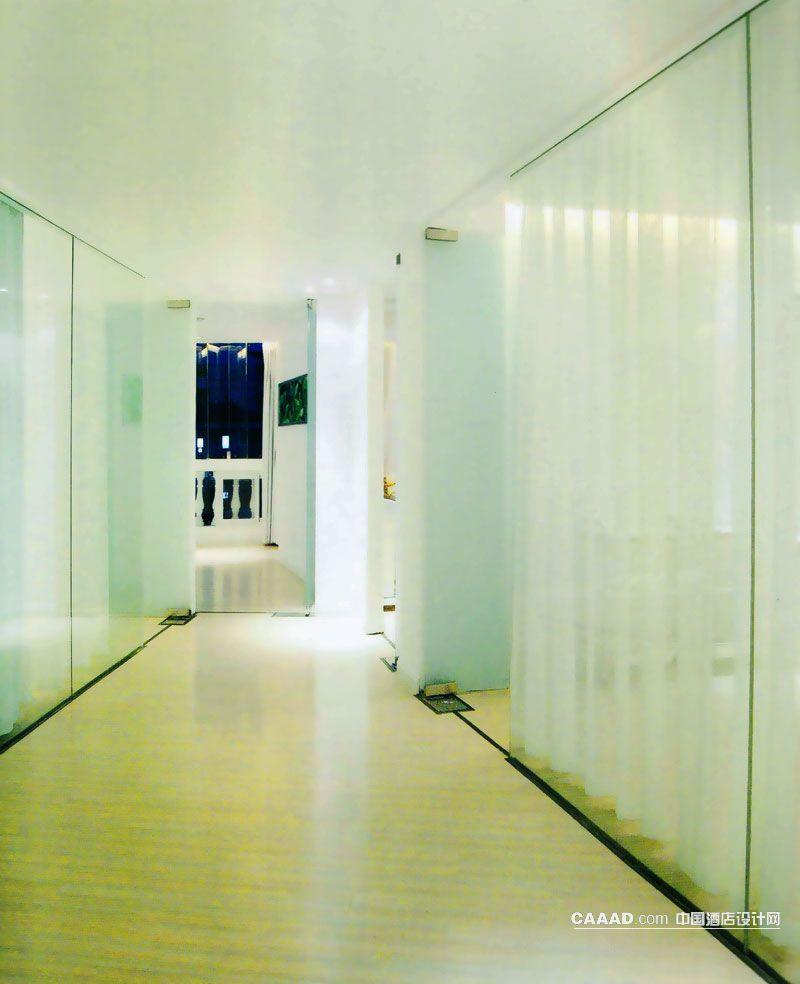 通道走廊玻璃隔断纱帘挂画射灯效果图 通道走廊玻璃隔断纱帘挂画射灯高清图片