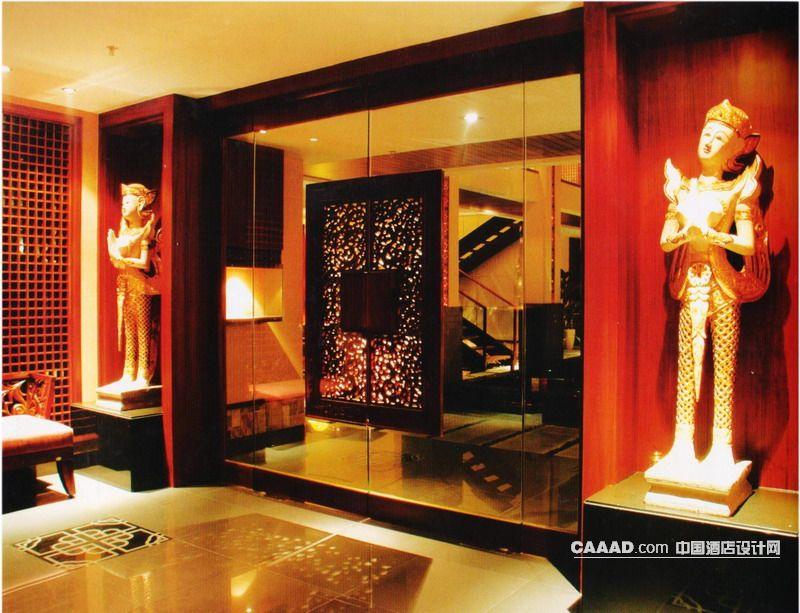 东南亚风格出入口雕塑大理石地面门玻璃射灯装修效果图欣赏图片