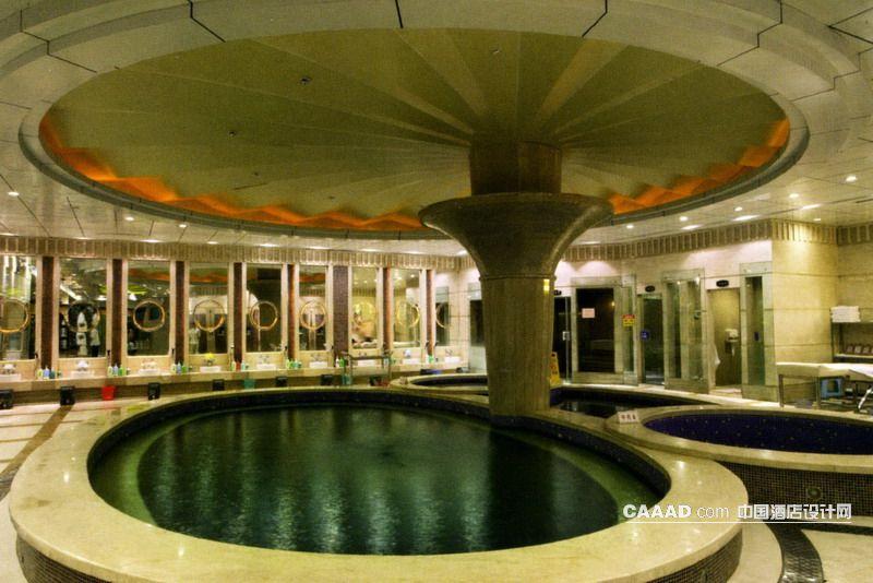 桑拿区浴池区天花柱子圆形射灯坐浴效果图 桑拿区浴池区天花柱子圆形高清图片