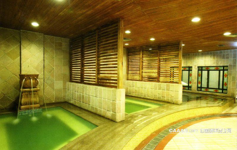 洗浴区浴池隔断木条木质天花射灯效果图 洗浴区浴池隔断木条木质天花高清图片
