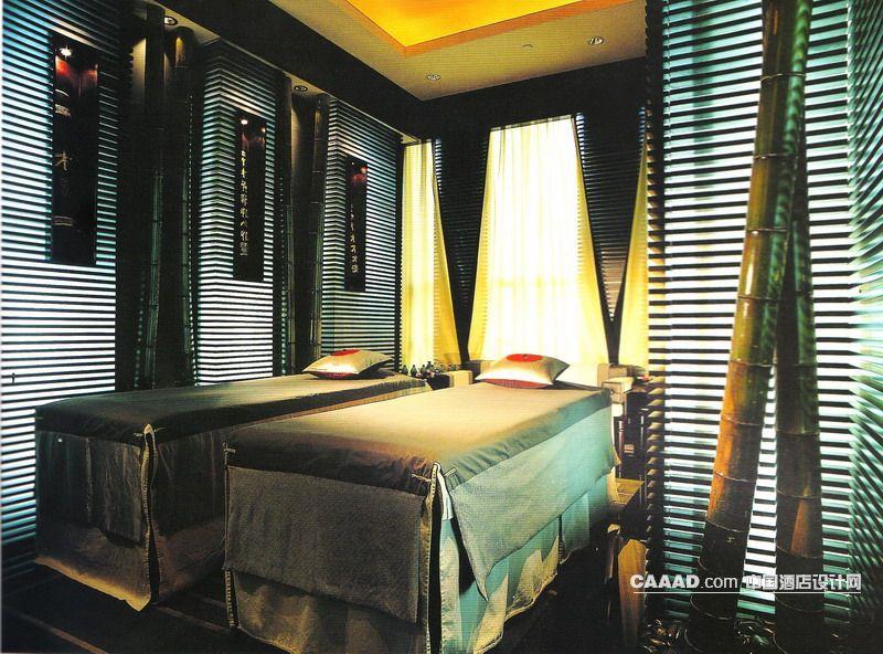 上海悦榕泉浴 9 按摩泉疗室木行阁墙壁木条手工雕刻装饰竹子高清图片