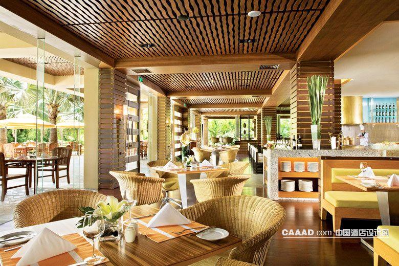 厅椅子桌子柱子木条装修效果图欣赏图片高清图片
