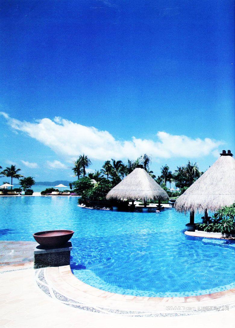 户外游泳池海岛亭榭沙滩旅游度假椰树太阳伞