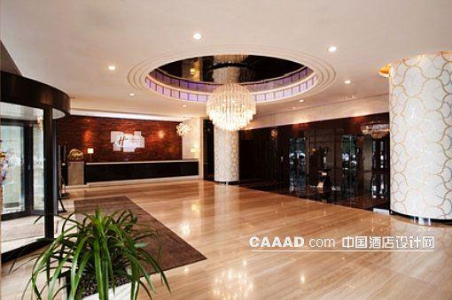 酒店大堂天花造型吊灯柱子接待前台服务台花纹效果图