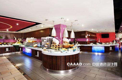 自助餐厅餐台柱子壁橱地板装修效果图欣赏图片高清图片