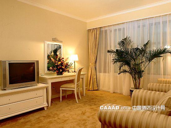 欧式客房电视柜办公桌插花台灯椅子镜子盆景窗帘窗纱