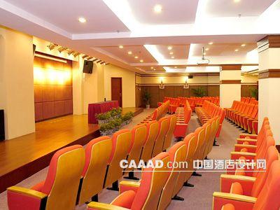大型会议厅背景墙软包天花造型讲台会议椅效果图