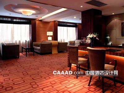 上海/商务中心天花造型服务台椅子沙发茶几窗帘地毯