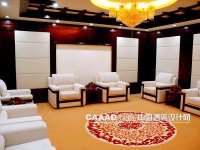 相关接见厅会客厅背景墙软包吊灯花纹地毯沙发茶几效果图欣赏图片