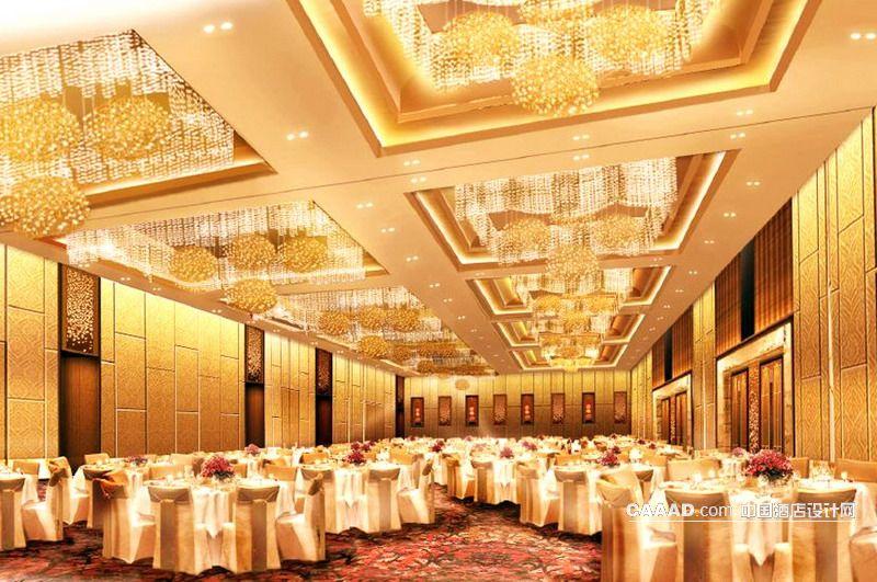 宴会厅多功能厅天花造型灯餐桌椅子效果图