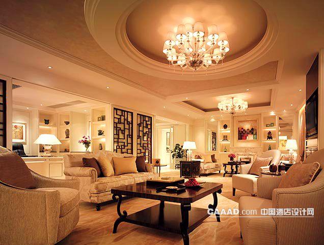 套房天花造型吊灯沙发茶几台灯地毯