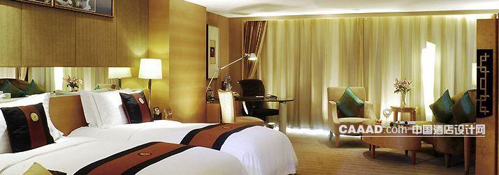 双人客房床沙发书桌办公椅造型灯柱效果图