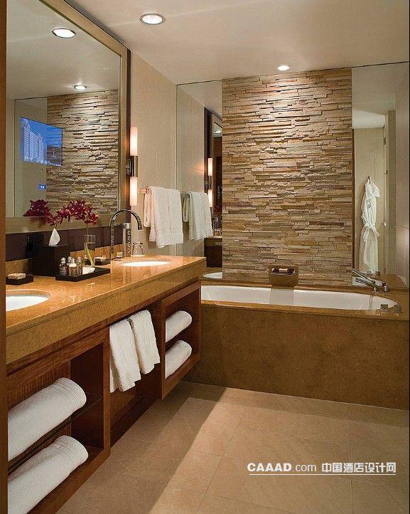 中国酒店设计网 装修效果图 >> 浴室浴缸洗手台背景墙装修效果图欣赏