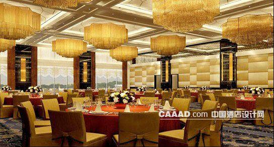 宴会厅天花装饰吊灯餐桌椅子桌布地毯效果图