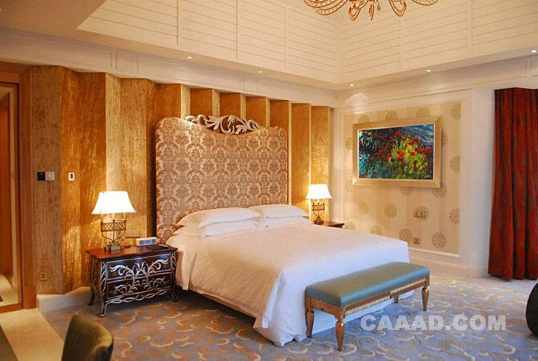欧式风格夫人套房床床头背景墙榻床头柜造型台灯地毯
