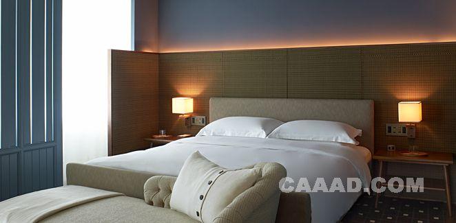 卧室床榻床头背景墙壁灯效果图