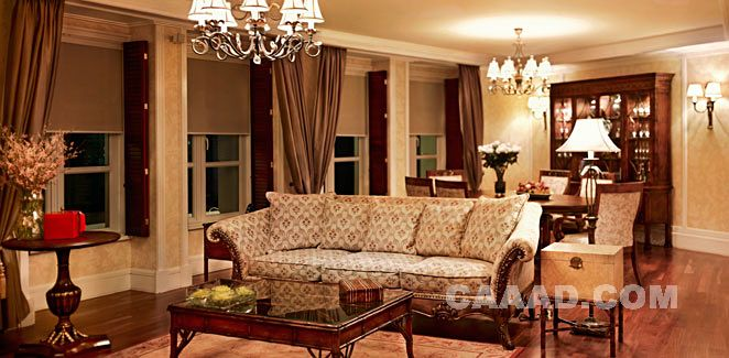套房客厅沙发吊灯桌子效果图