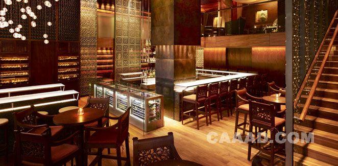 中国酒店设计网 装修效果图 >> 酒吧吧台吧椅椅子酒柜木格隔断装修
