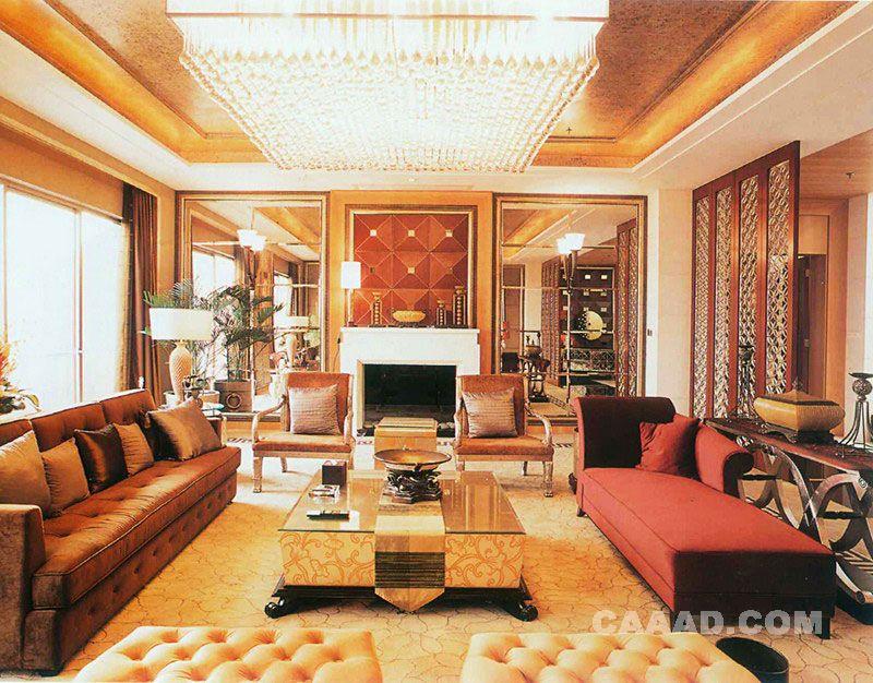 套房客厅长条沙发玻璃茶几欧式椅子懒人沙发