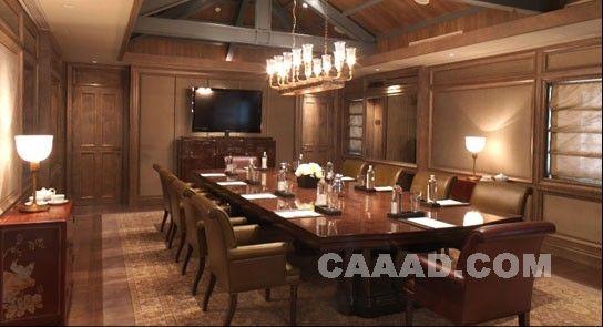 会议室桌子椅子台灯吊灯欧式地毯电视