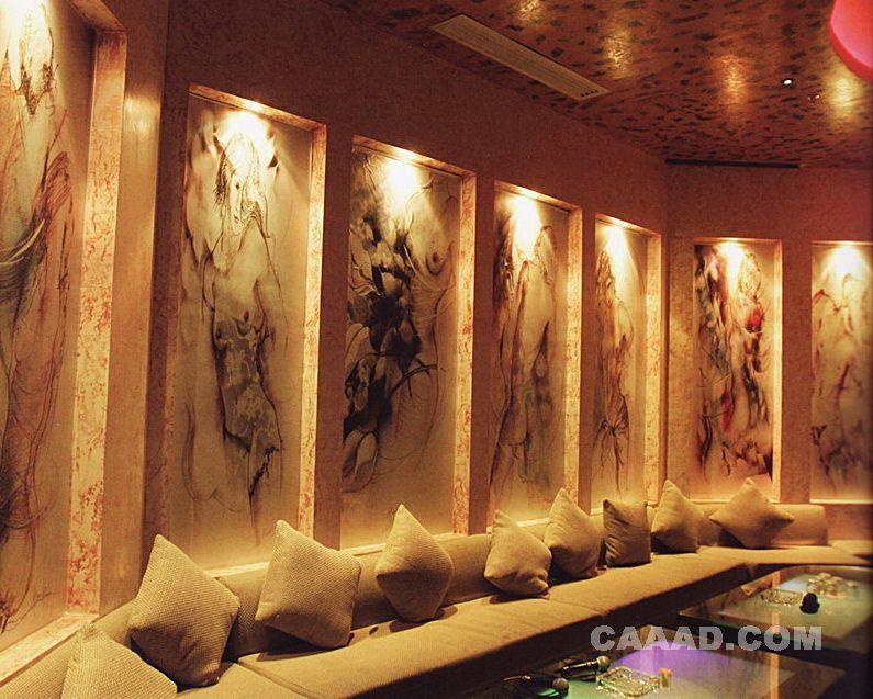 相關ktv包房手繪墻長條沙發玻璃茶幾效果圖欣賞圖片