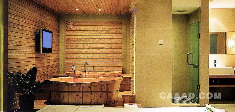 疗SPA电视墙木桶效果图 水疗SPA电视墙木桶装修效果图欣赏图片高清图片