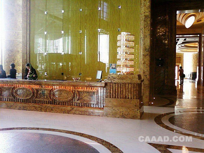 大堂接待处服务台大理石地面镜面背景墙效果图 大堂接待处服务台大高清图片