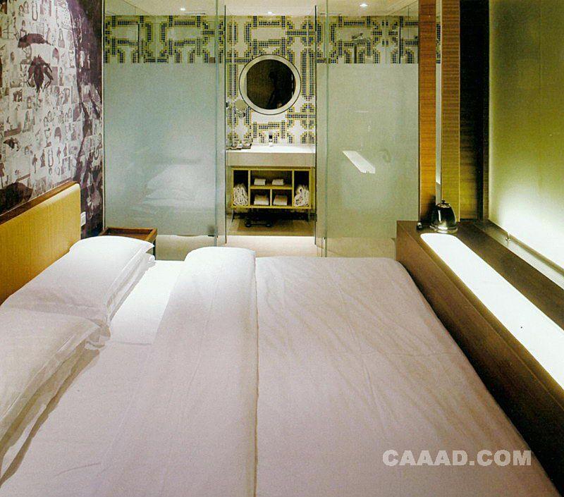 相关艺术设计酒店客房床玻璃隔断效果图欣赏图片