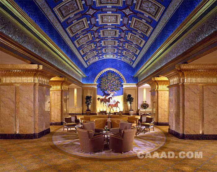 度假旅游大堂休闲区手绘天花板