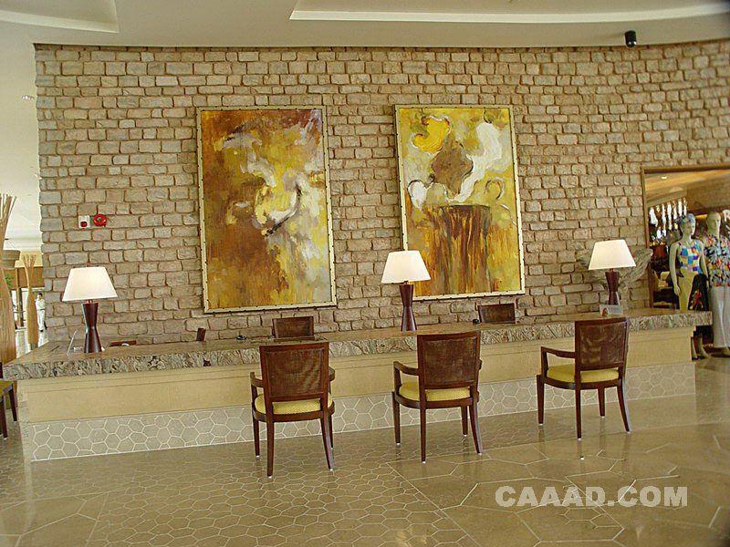酒店大堂前台接待处服务台背景装饰画