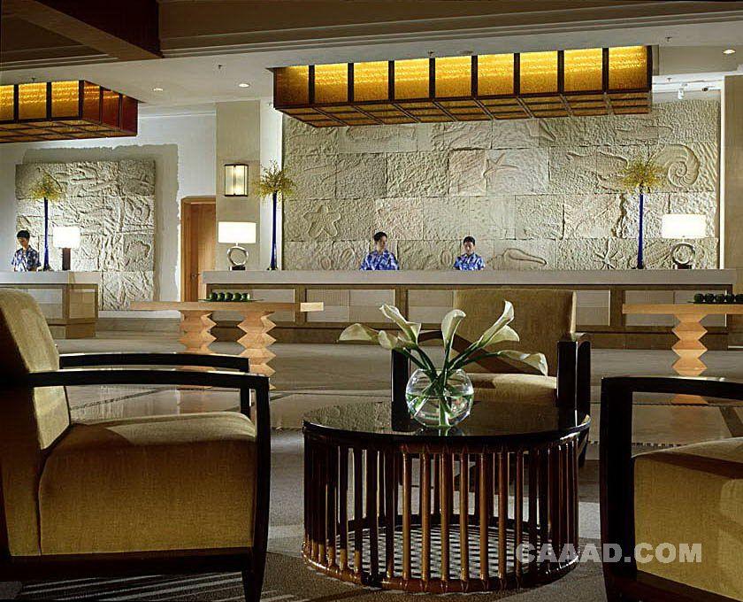 酒店前台接待处服务台浮雕背景墙效果图