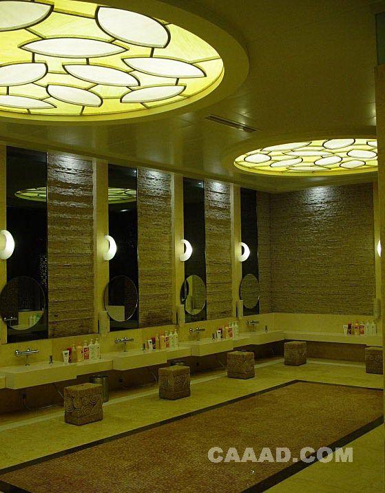 中国酒店设计网 装修效果图 >> 西安索菲特spa公共淋浴区天花造型装修