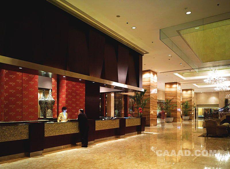 西安香格里拉酒店大堂接待处服务台大理石地面
