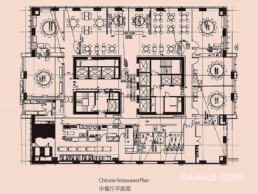 天津君隆威斯汀酒店(商务型)中餐厅平面图效果图