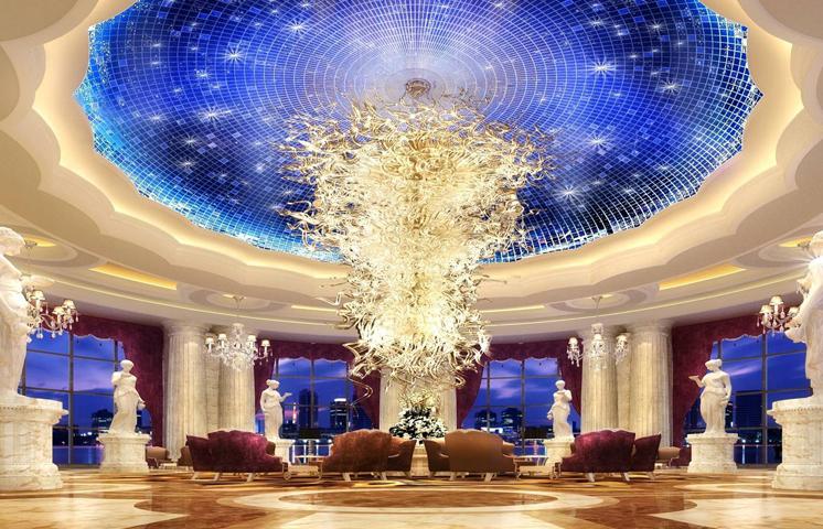 唐山国丰维景花园酒店-酒店大堂设计-天花装饰效果图