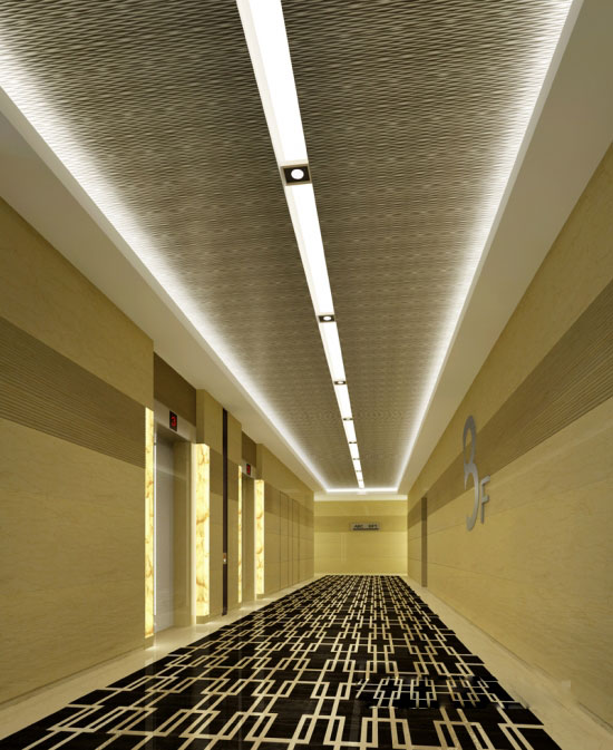吴敏设计作品:西安领汇乐城酒店公寓-电梯间效果图