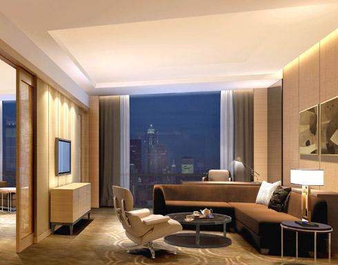 中国酒店设计网 装修效果图 >> 南京希尔顿酒店-套房客厅装修效果图