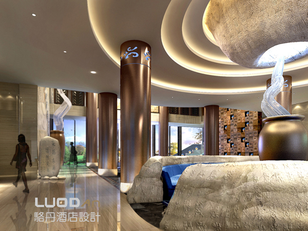 中国酒店设计网 装修效果图 >> 庐山醉石温泉度假酒店-大堂效果图装修