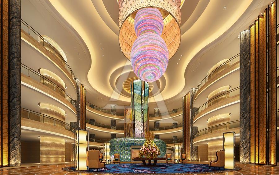 白金五星级酒店设计:泸州巨洋国际大酒店大堂设计